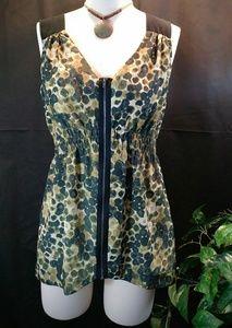 SIMPLY VERA Green & Black Sleeveless Top Size M